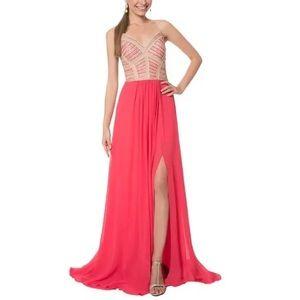 Terani Couture coral strapless chiffon long dress